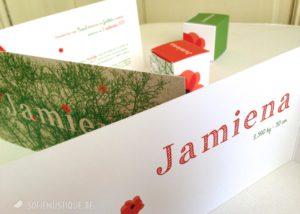Jamiena Geboortekaartje en doopsuiker