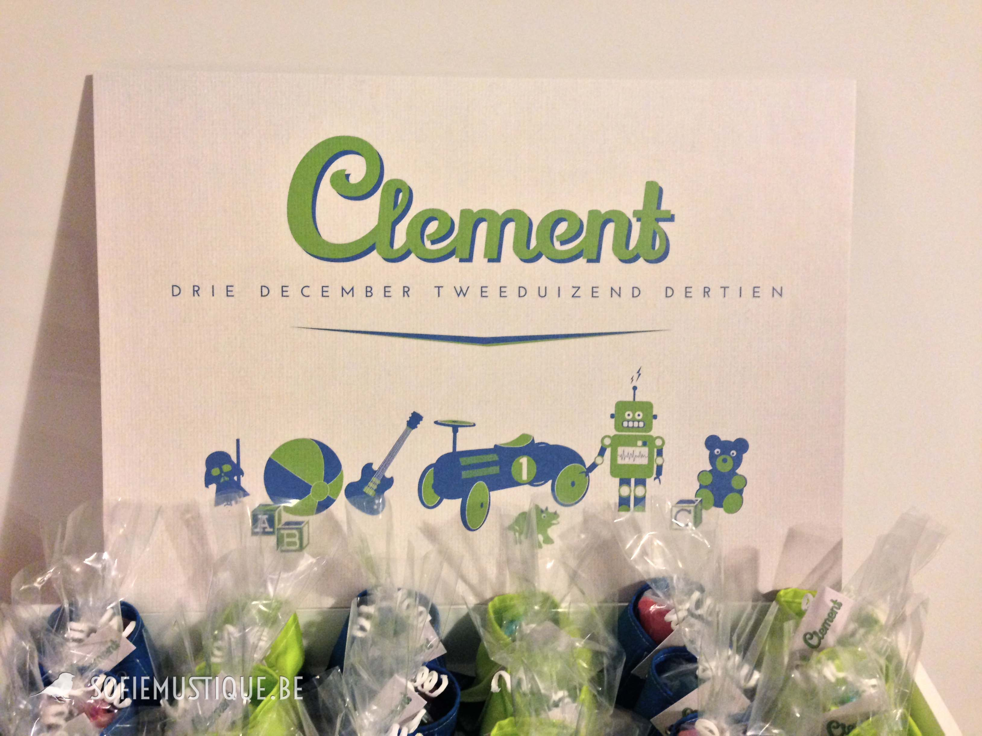 Geboortekaartje Doopsuiker Clement blokken, gitaar, beer, robot, dinosaurus, bal, auto, darth vader