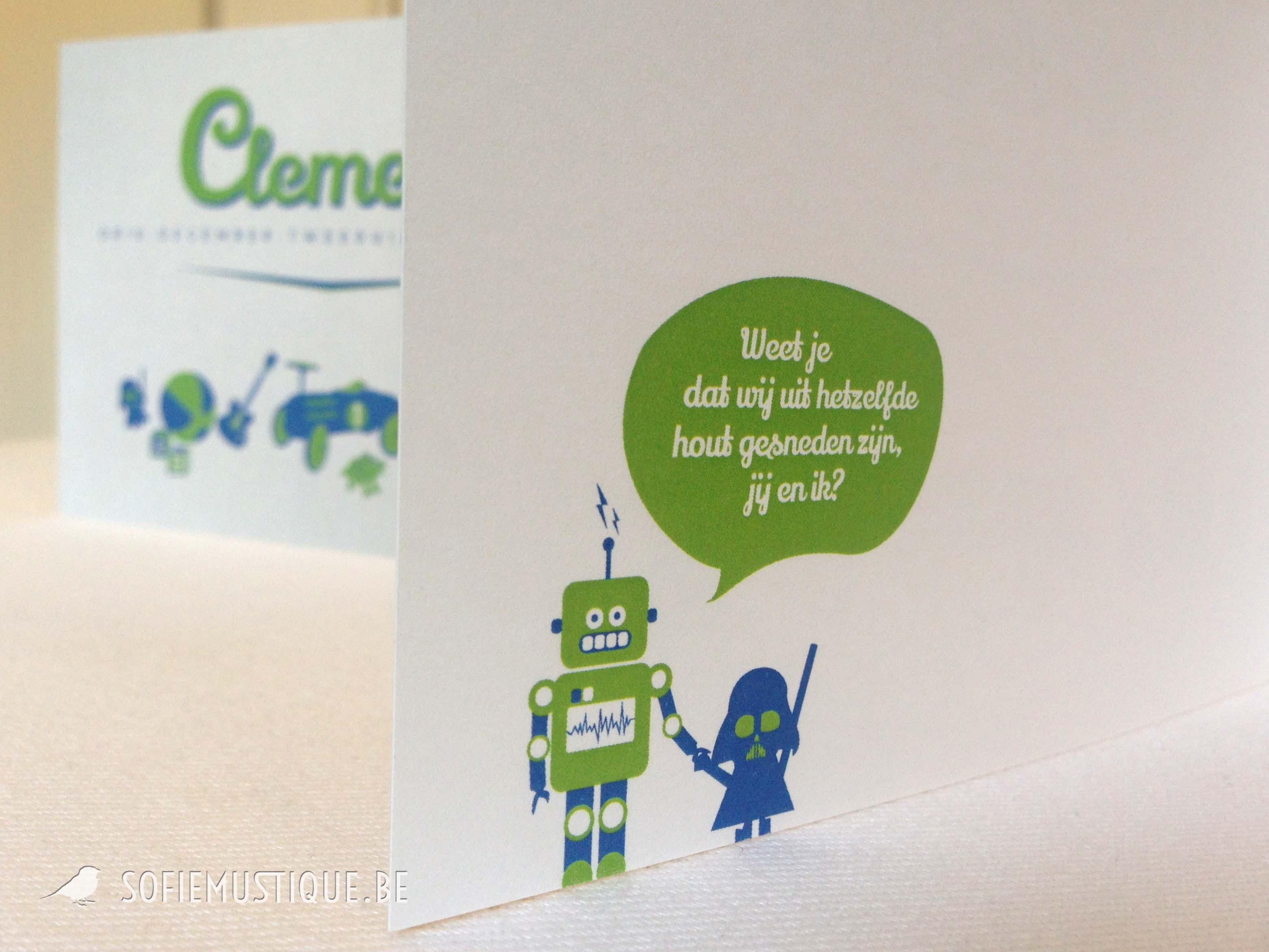 Geboortekaartje Clement blokken, gitaar, beer, robot, dinosaurus, bal, auto, darth vader