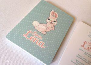 Geboortekaartje Lena, geboortekaartje konijntje, roze, retro, vintage