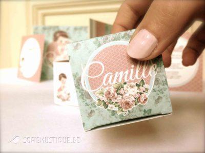 Geboortekaartje, doopsuiker Camille, retro, vintage, baby, tekening, bloemen, rozen, roze