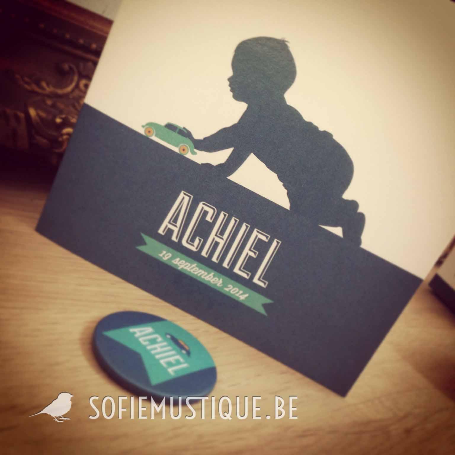 Geboortekaartje Achiel, silhouet, jongetje, auto, speelgoed, banner, vlagje, modern, retro, vintage