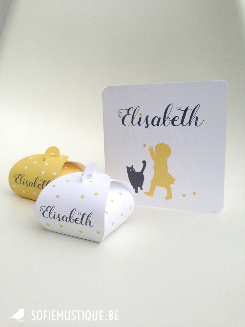 Geboortekaartje Elisabeth meisje kat doopsuiker afgeronde hoeken silhouette