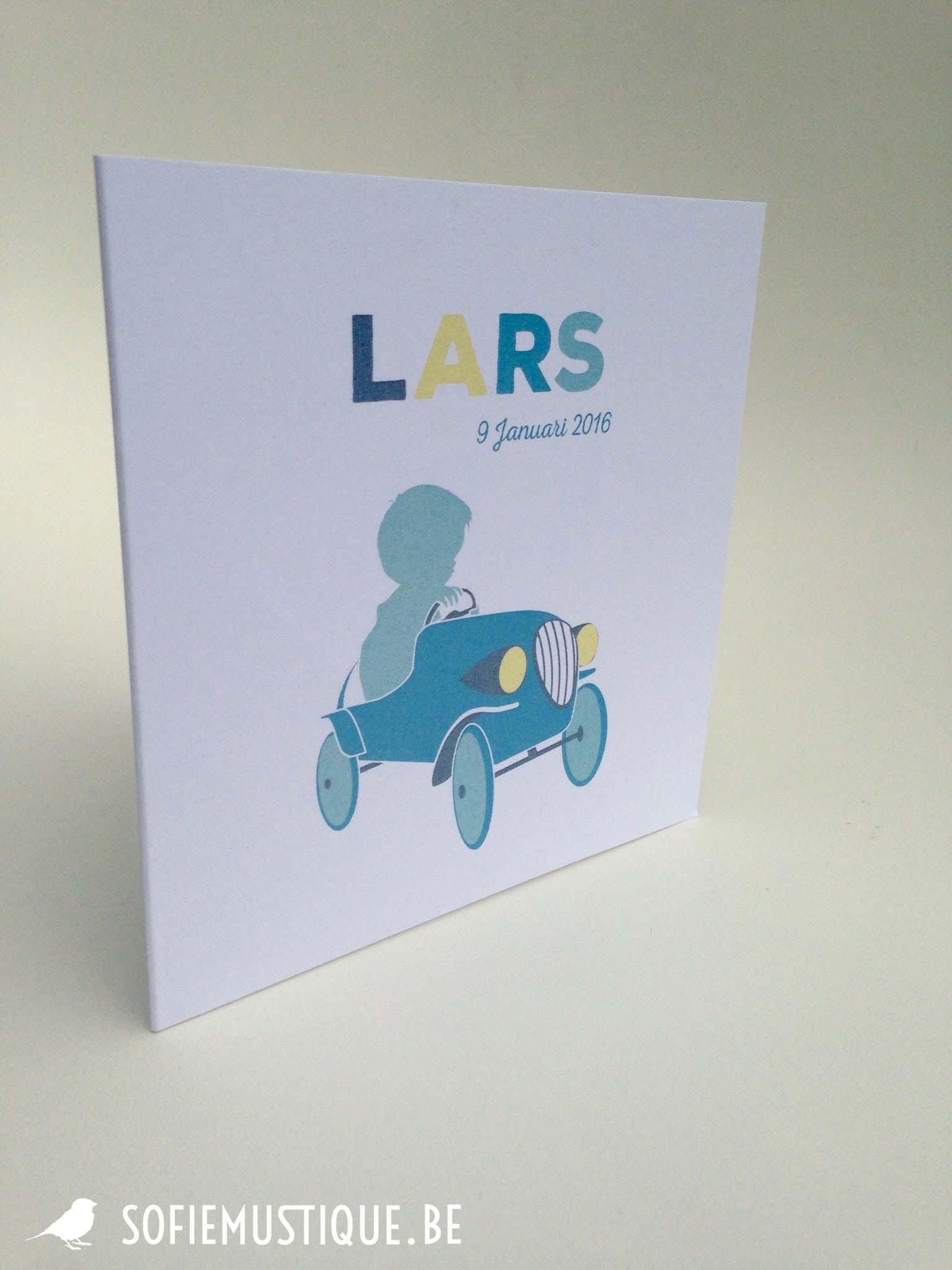 Geboortekaartje Lars   auto, vintage, blauw, silhouette, retro