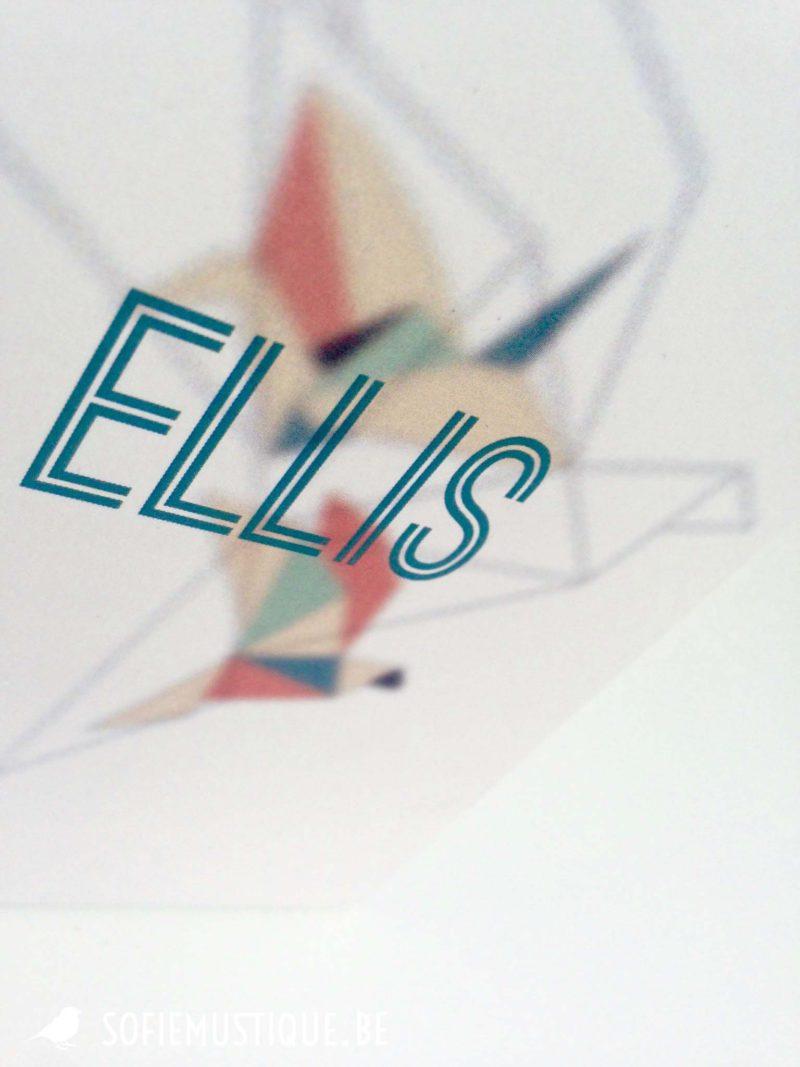 Geboortekaartje Ellis kraanvogel origami geometrisch