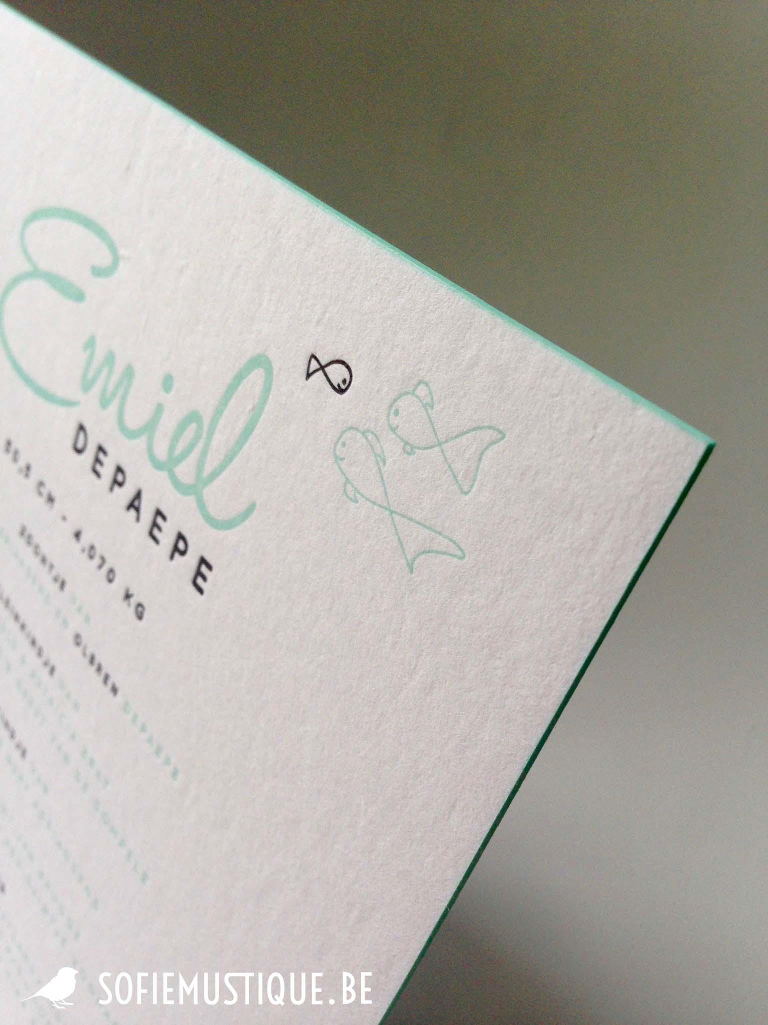 Geboortekaartje Emiel (Letterpress mint muntgroen)