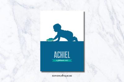 Geboortekaartje Achiel - autootje