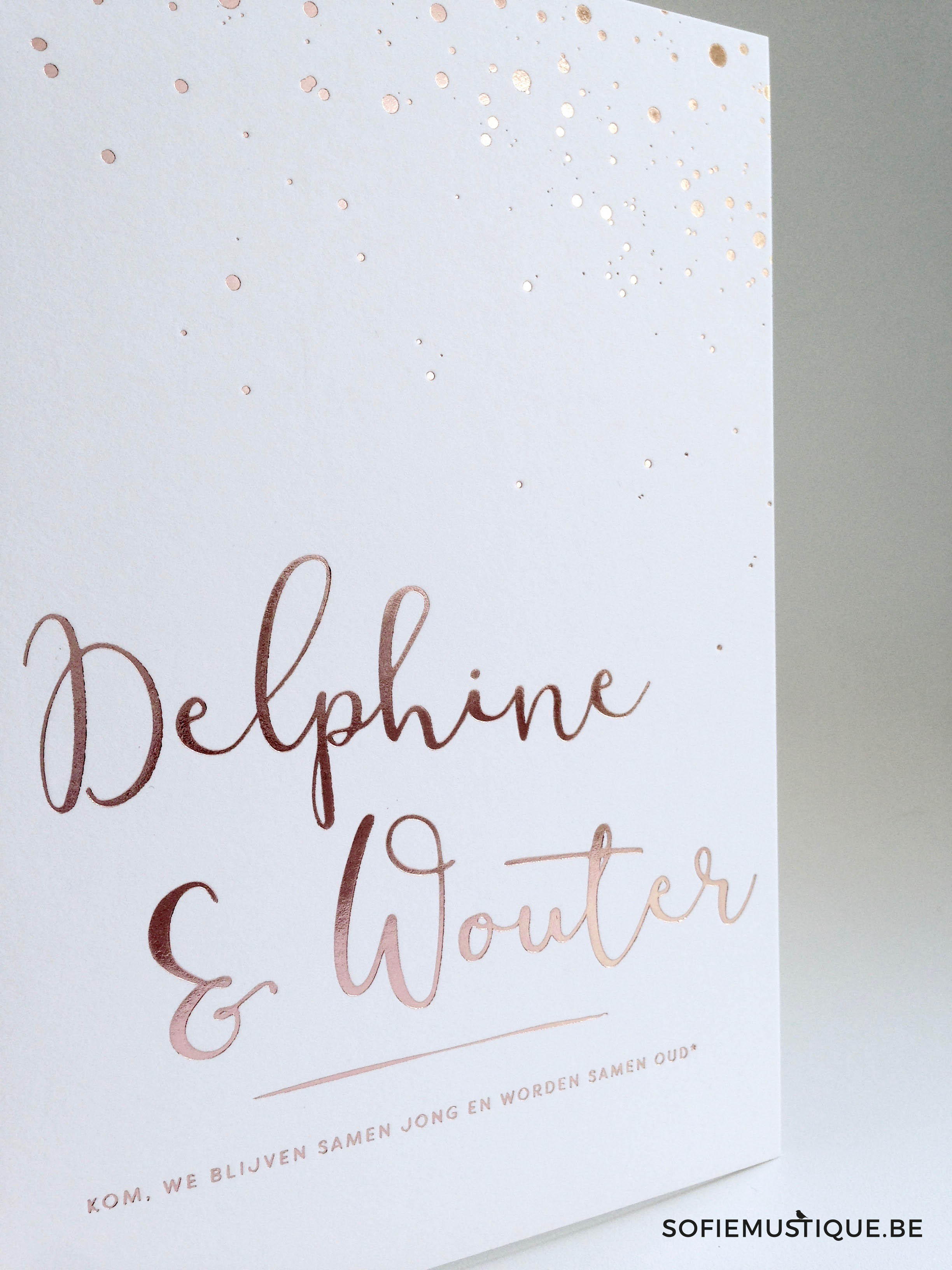 Huwelijksuitnodiging Delphine Wouter Rose Gold Foil letterpress