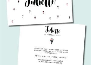 Geboortekaartje Juliette - ijsjes, roze, zwart, wit, moderne kalligrafie, modern calligraphy, strak, letterpress