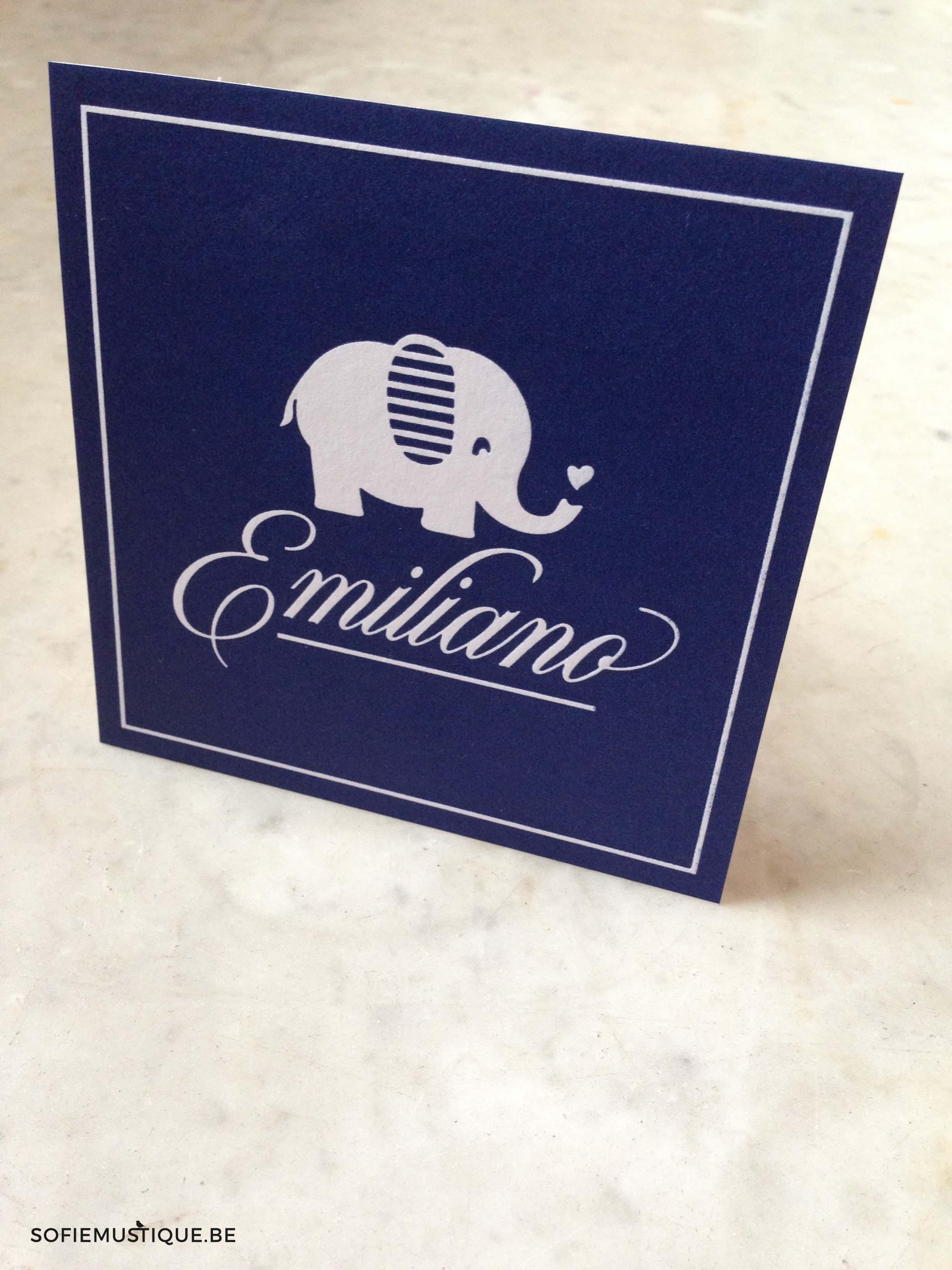 Geboortekaartje olifantje baby olifant Emiliano
