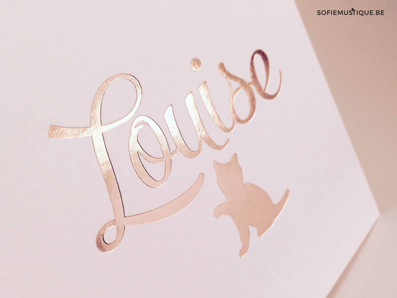 geboortekaartje Louise rose goudfolie met katje