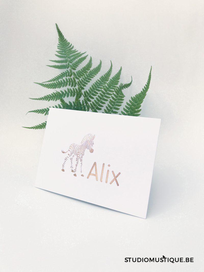 Geboortekaartje Alix baby zebra rose goud folie rose gold foil Minimalistisch letterpress hotfoil