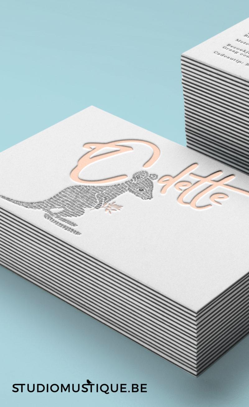 Geboortekaartje Oscar Odette baby kangoeroe letterpress tekening streepjes