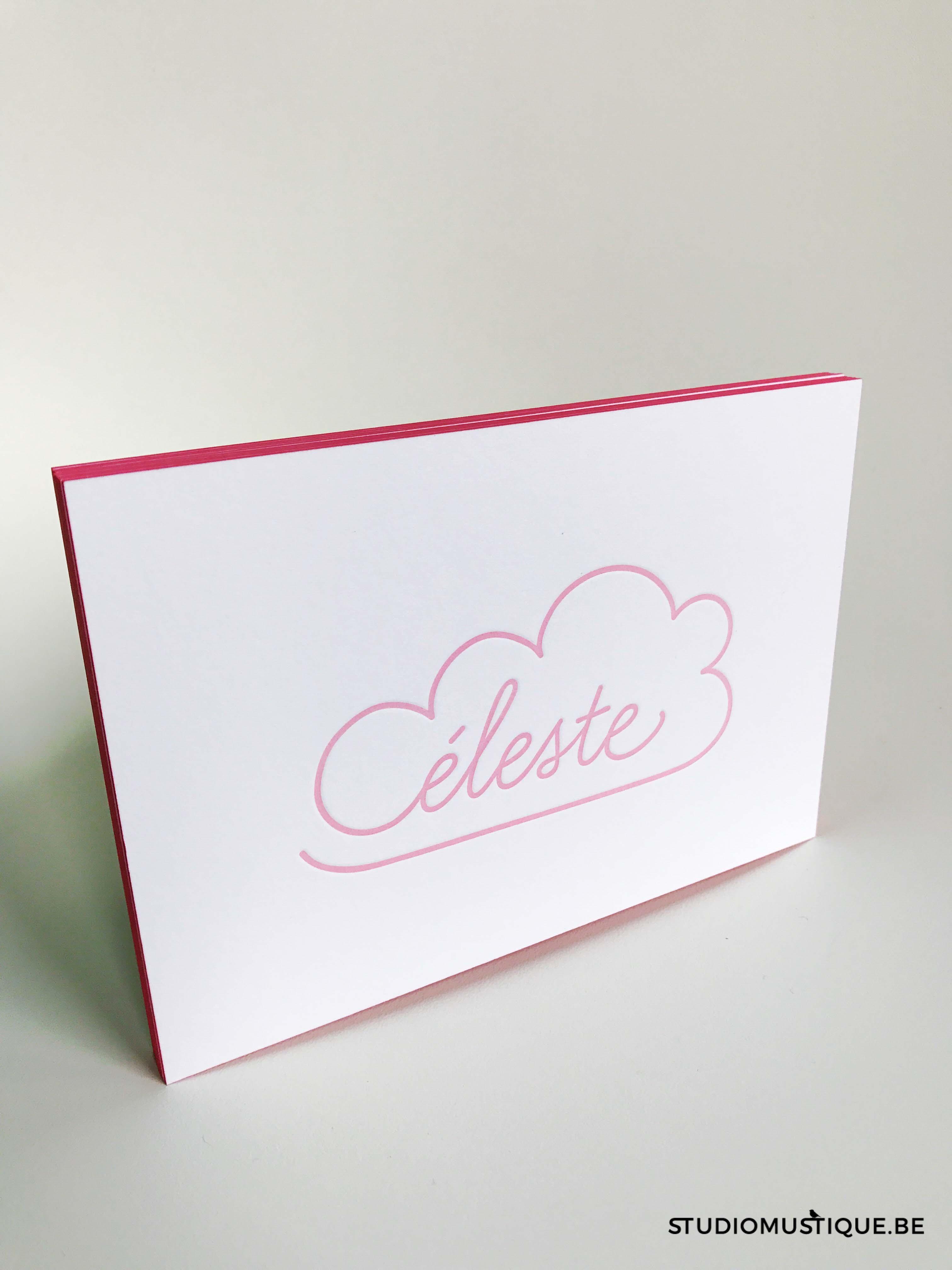 studio mustique Geboortekaartje Céleste - wolk wolkje, handgetekend hand drawn, letterpress, roze, meisje, kleur op snee