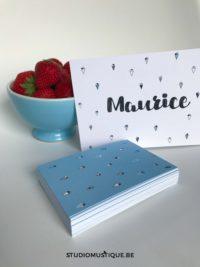 Studio Mustique | Geboortekaartje Maurice - IJsjes, letterpress, digitale druk, babyborrelkaartje, blauw, babyblauw, handwriting