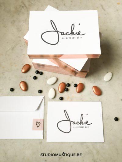 Geboortekaartje letterpress Jackie folie op snee, minimalistisch geboortekaartje, sierlijk handwriting
