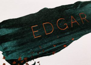 Edgar geboortkaartje letterpress koperfolie donkergroen koper verf kunst