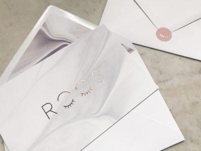 Geboortekaartje Roos letterpress rose goudfolie marmer