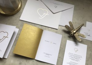 Huwelijksuitnodigingen V&J - wedding logo - gold foil - wedding stationery - letterpress