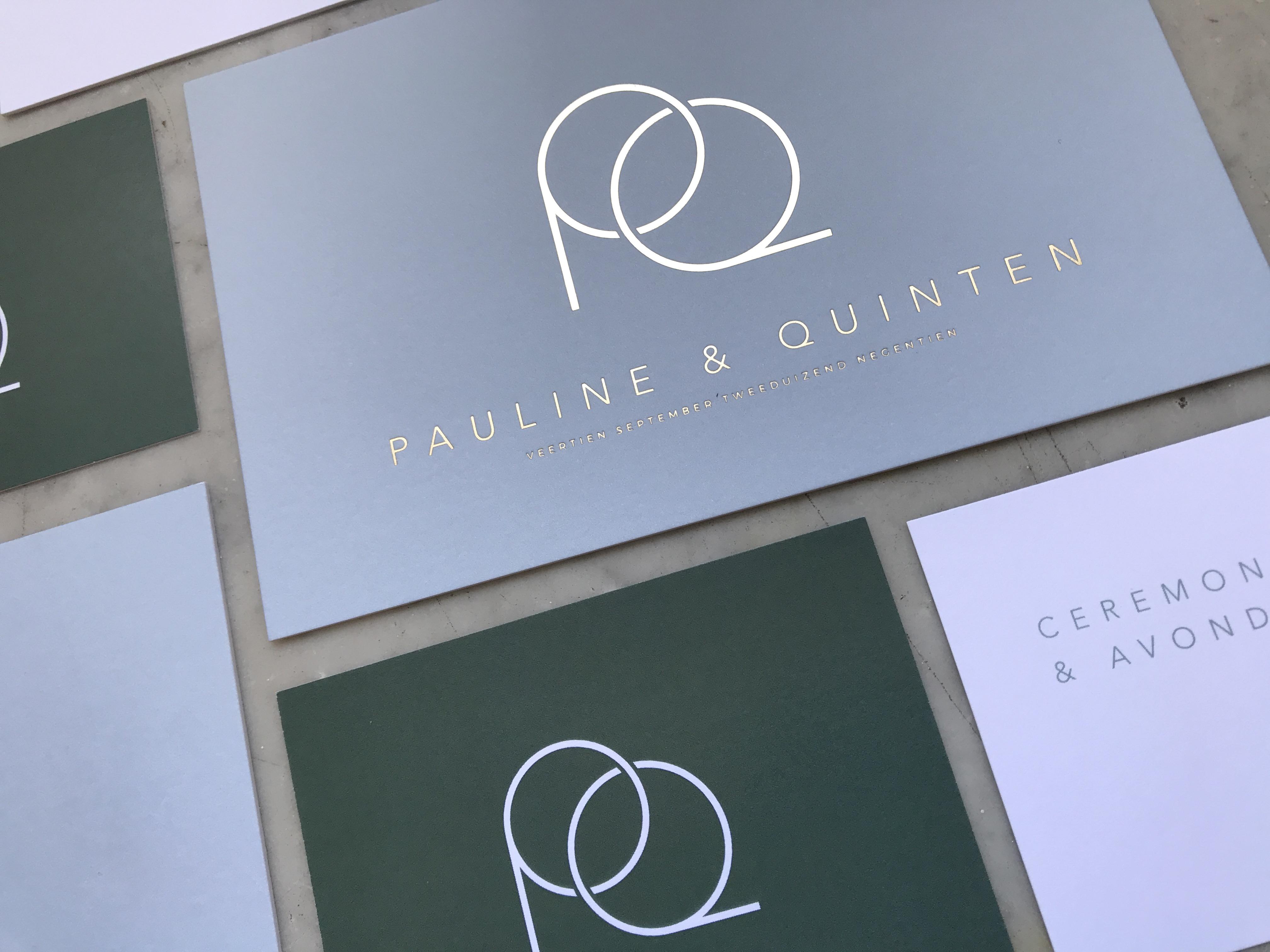 Huwelijksuitnodigingen Pauline & Quinten