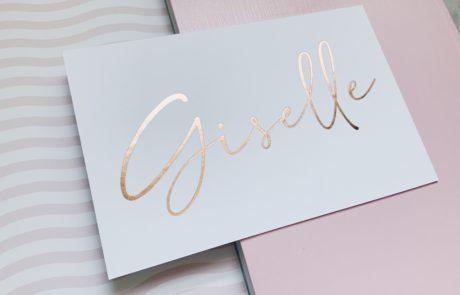 Geboortekaartje Giselle letterpress rose gold foil rose goudfolie handlettering