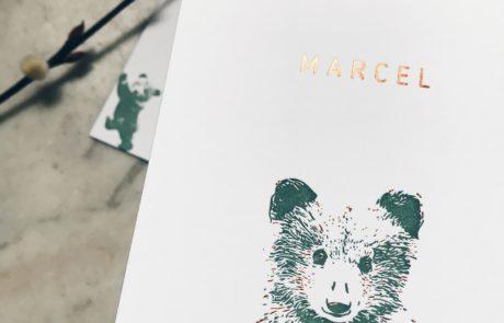 Geboortekaartje Marcel met koperfolie accenten