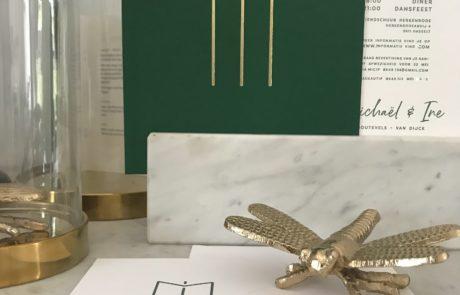 Huwelijksuitnodigingen wedding stationery logo Ine & Michael groen colorplan forest green