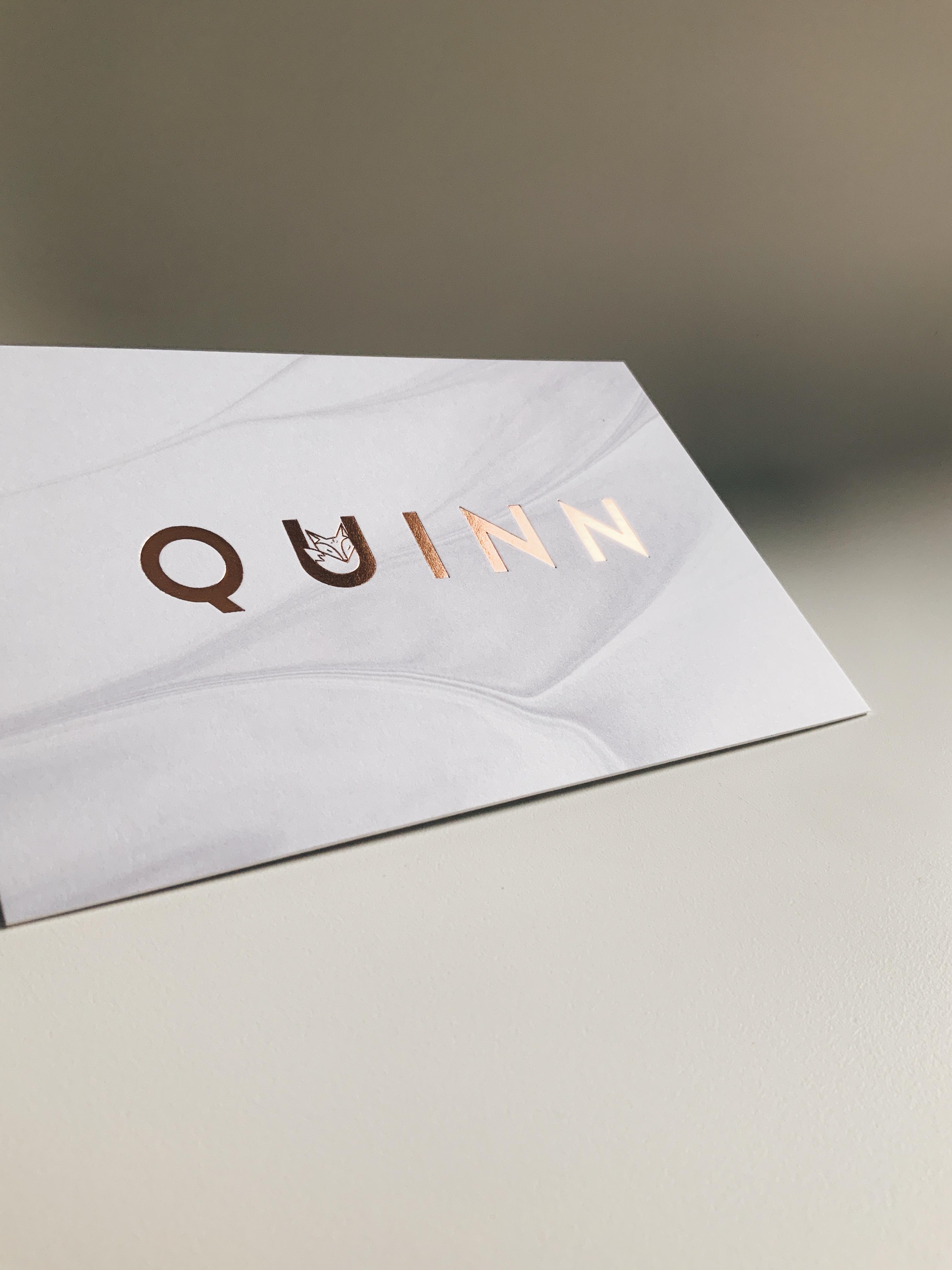 Geboortekaartje Quinn met vosje - foliedruk rose goud - meisje