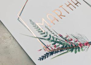 Geboortekaartje Martha, wildflowers, wilde bloemen, foliedruk rose gold, rose goudfolie, letterpress, geboortekaartje meisje