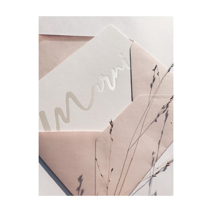 Geboortekaartje Marni - letterpress pearl parelmoer