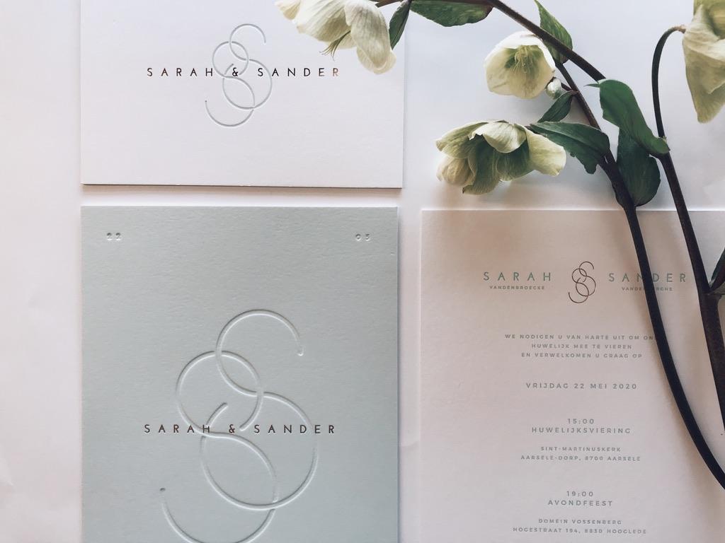 Huwelijksuitnodigingen Sarah & Sander - wedding logo - monogram - mint minimalistisch elegant - letterpress - blinddruk -