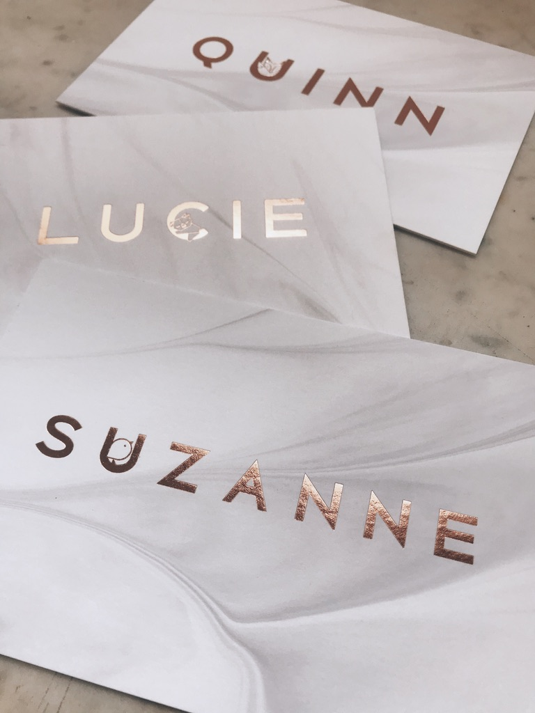 Geboortekaartje Suzanne, letterpress, foliedruk, marmer, marble, vogeltje, rose gold, roségoud, rosé goud, hotfoil