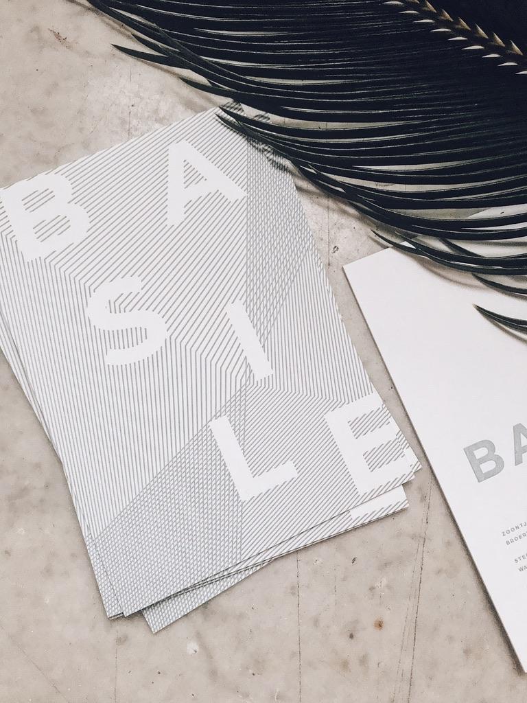 Geboortekaartje Basile, letterpress, geboortekaartje jongen, geometrisch, modern, strak, blauw