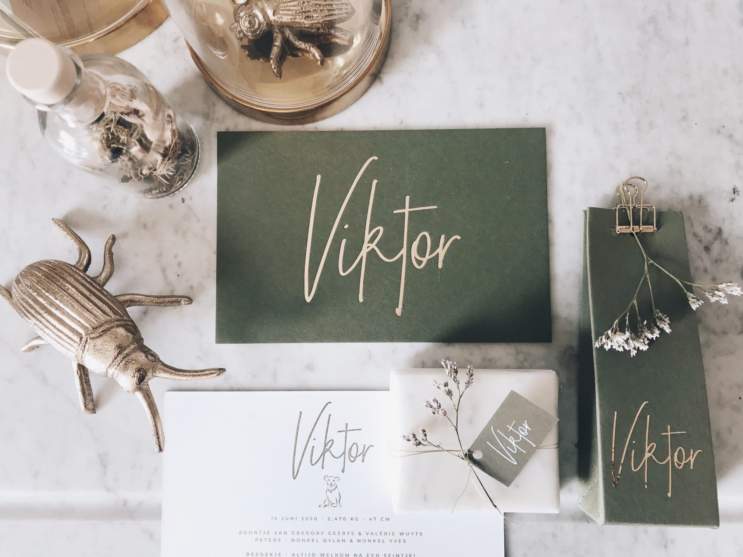 Geboortekaartje Viktor, olijfgroen, mat goud, goudfolie, letterpress hotfoil, handlettering, groen, zeepjes, studio Mustique, Studio Blanche, hondje