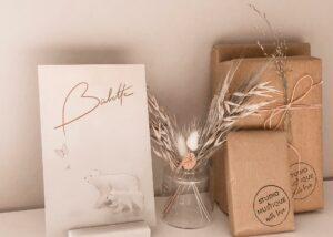 Babette geboortekaartje ijsberen, foliedruk rose goud, letterpress, studio blanche, studio mustique